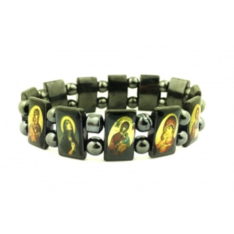 Bracelet, Hematite Rect. Links with Oval Icons