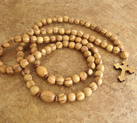 Prayer Rope - 100 Olive Wood Beads, 10mm