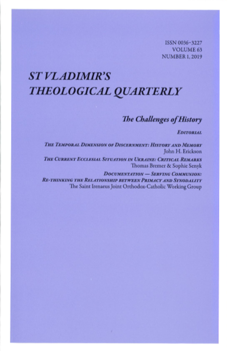 St Vladimir's Theological Quarterly (Vol. 63, no. 1 - 2019)