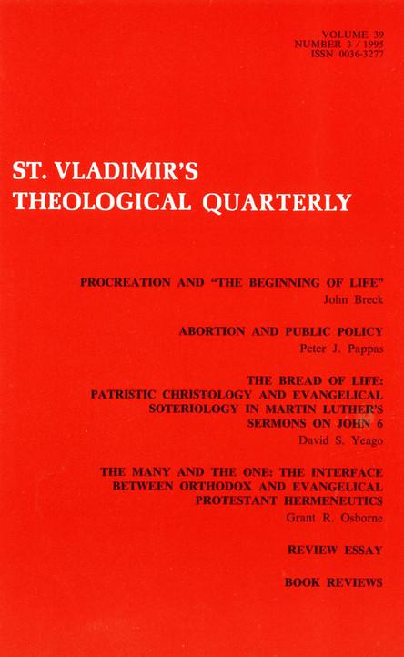 St Vladimir's Theological Quarterly, vol. 39, no. 3 (1995)
