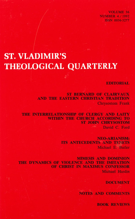 St Vladimir's Theological Quarterly, vol. 36, no. 4 (1992)