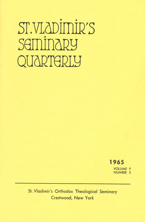 St Vladimir's Theological Quarterly, vol. 09, no. 3 (1965)