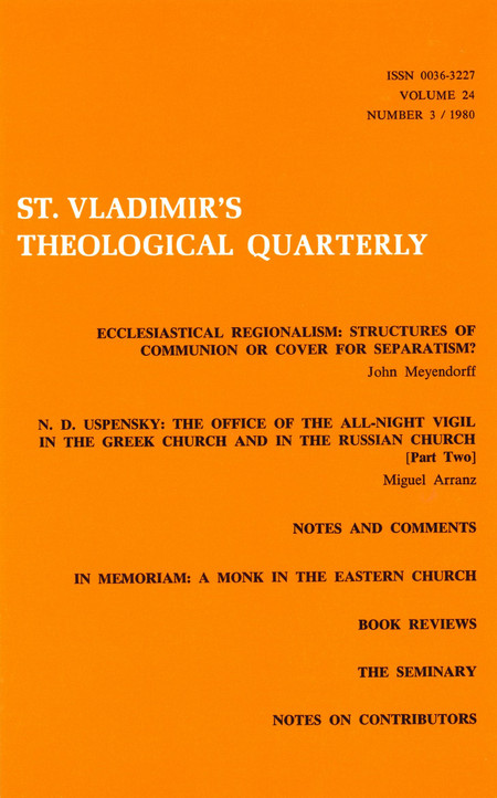St Vladimir's Theological Quarterly, vol. 24, no. 3 (1980)