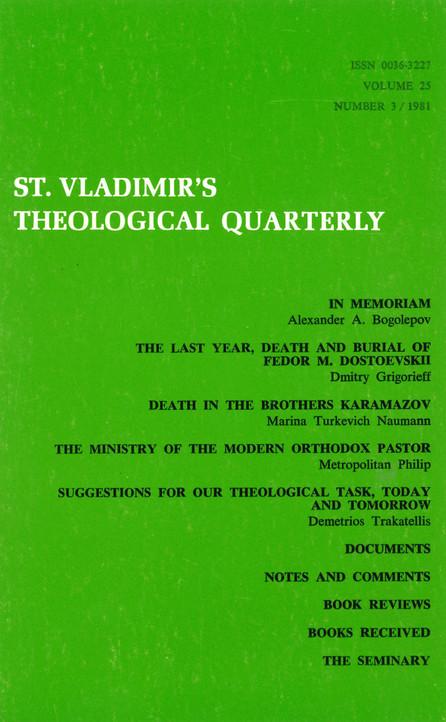 St Vladimir's Theological Quarterly, vol. 25, no. 3 (1981)