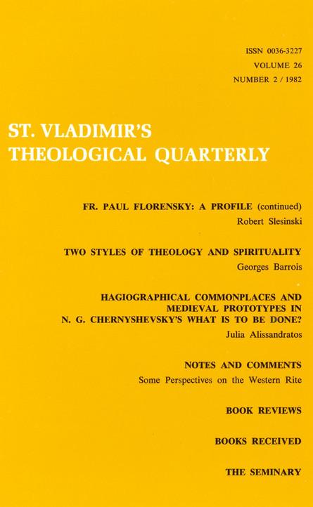 St Vladimir's Theological Quarterly, vol. 26, no. 2 (1982)