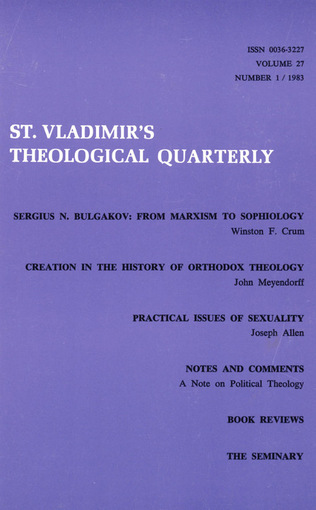 St Vladimir's Theological Quarterly, vol. 27, no. 1 (1983)