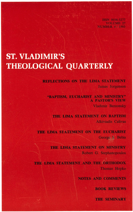 St Vladimir's Theological Quarterly, vol. 27, no. 4 (1983)