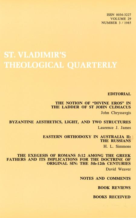 St Vladimir's Theological Quarterly, vol. 29, no. 3 (1985)