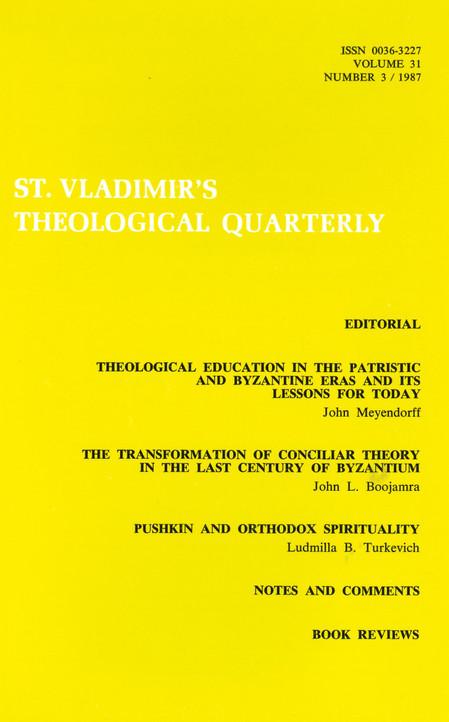St Vladimir's Theological Quarterly, vol. 31, no. 3 (1987)