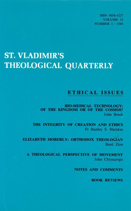 St Vladimir's Theological Quarterly, vol. 32, no. 1 (1988)