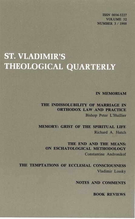 St Vladimir's Theological Quarterly, vol. 32, no. 3 (1988)