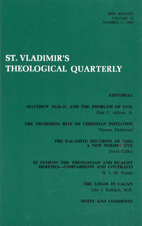 St Vladimir's Theological Quarterly, vol. 32, no. 4 (1988)