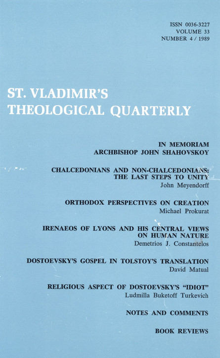 St Vladimir's Theological Quarterly, vol. 33, no. 4 (1989)