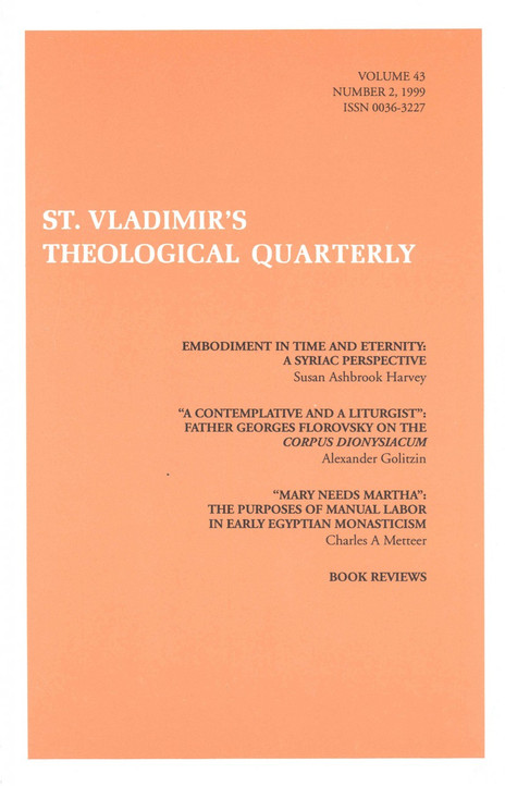 St Vladimir's Theological Quarterly, vol. 43, no. 2 (1999)
