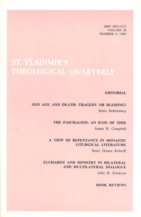 St Vladimir's Theological Quarterly, vol. 28, no. 4 (1984)