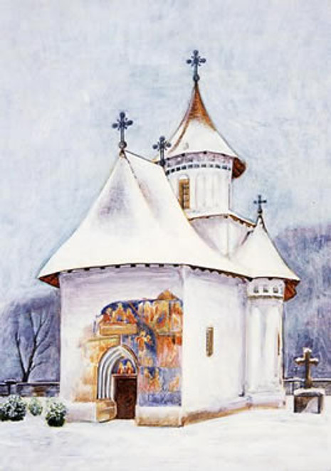 PK-C13N Winter Scenes Note Cards: Church of the Holy Cross