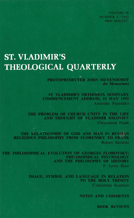 St Vladimir's Theological Quarterly, vol. 36, no. 3 (1992)