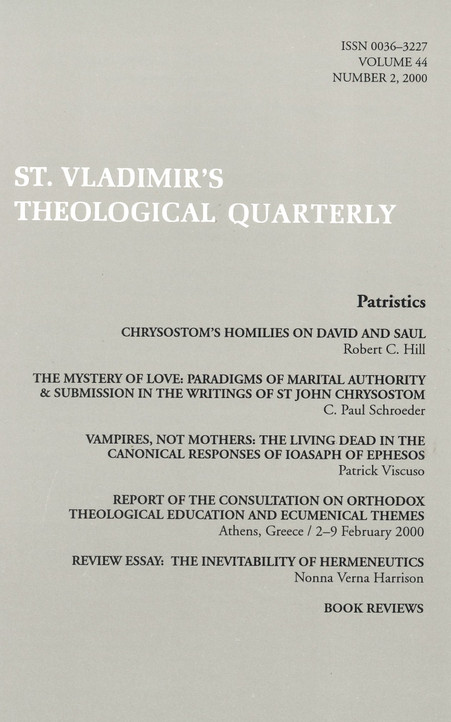 St. Vladimir's Theological Quarterly, vol. 44 , no. 2 (2000)