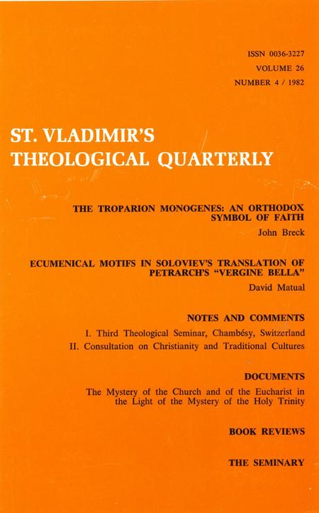 St Vladimir's Theological Quarterly, vol. 26, no. 4 (1982)