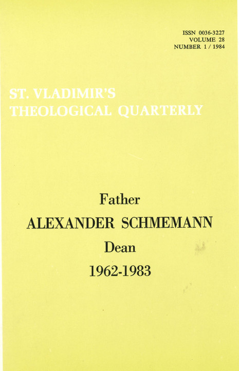 St Vladimir's Theological Quarterly, vol. 28, no. 1 (1984)