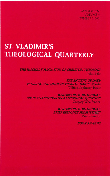 St Vladimir's Theological Quarterly, vol. 45, no. 2 (2001)