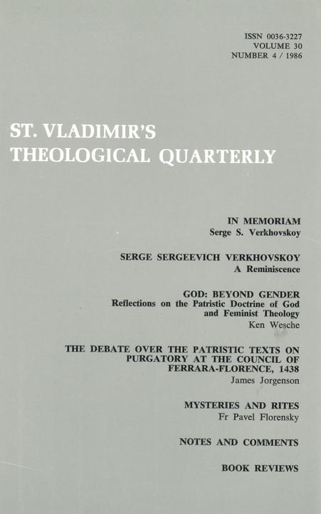 St Vladimir's Theological Quarterly, vol. 30, no. 4 (1986)
