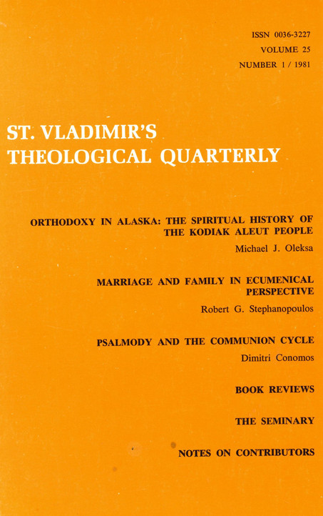 St. Vladimir's Theological Quarterly, vol. 25, no. 1 (1981)