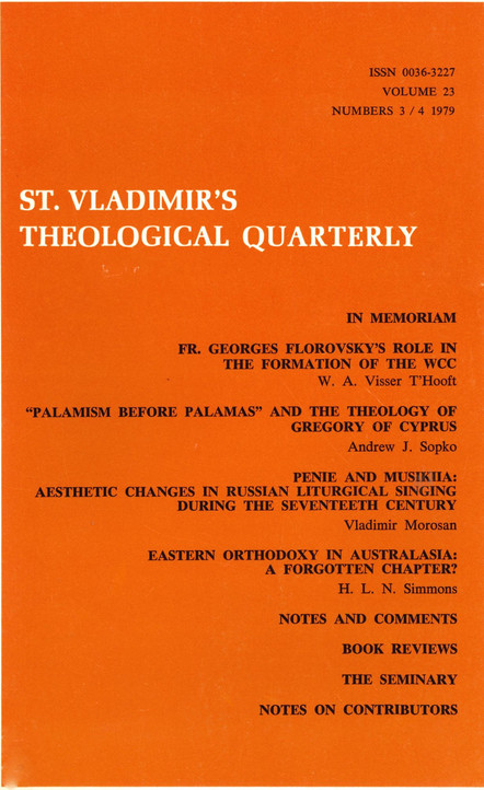 St. Vladimir's Theological Quarterly, vol. 23, no. 3-4