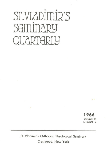 St. Vladimir's Theological Quarterly, vol. 10, no. 4 (1966)