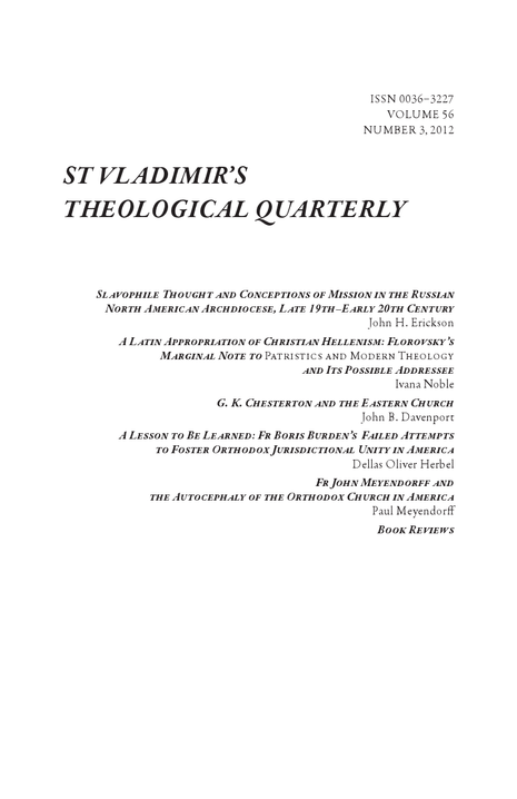 St. Vladimir's Theological Quarterly (Volume 56, Number 3 2012)