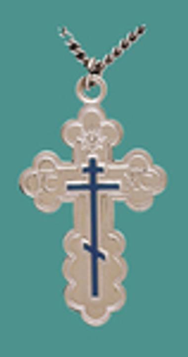 "Cross SS St. Olga Style w/blue enml., Lg. w/24"" Stainless Steel Chain, Engr."
