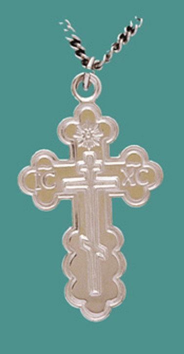 """Cross SS St. Olga Style, Lg. w/24"""" Stainless Steel Chain, Engraved"""