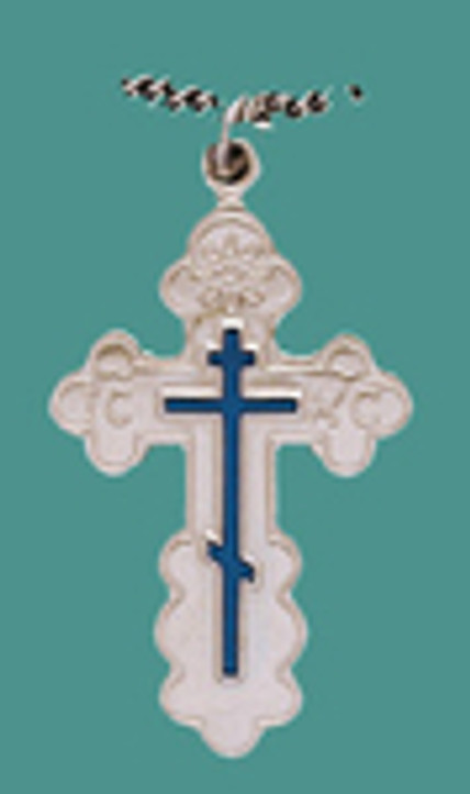 "Cross SS St, Olga Style, Med w/18"" stainless steel chain w/blue enml, engr."