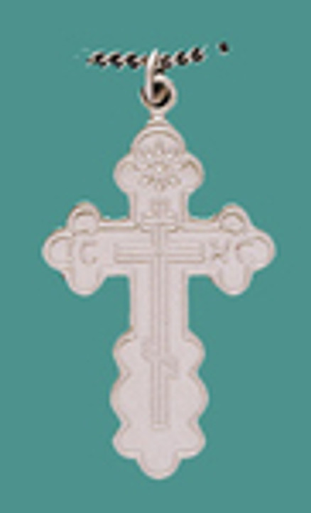 """Cross SS St. Olga Style, Med w/18"""" Stainless Steel Chain"""
