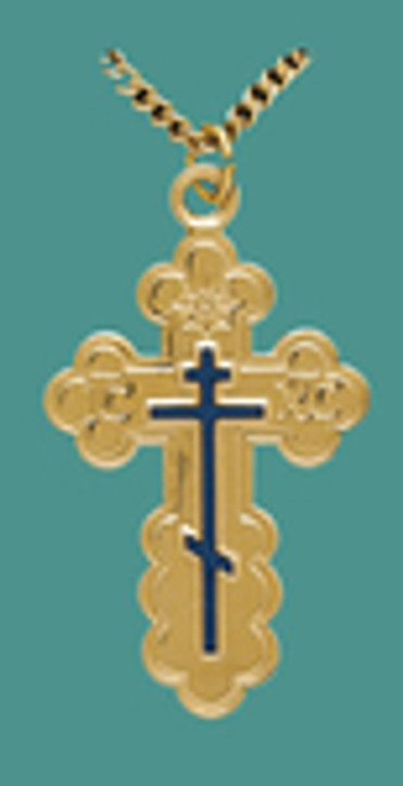 "Cross SS/GP w/24"" stainless/GP chain, Lg. St Olga style w/blue enamel, engr"