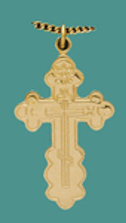 """Cross SS/GP w/stainless /GP 18"""" chain, sm. St Olga style , engr."""