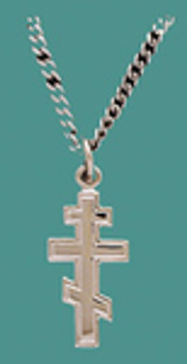 "Cross SS w/18"" stainless steel chain - Sm. plain 3 bar"