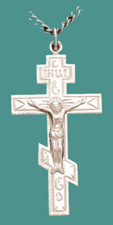 "Cross SS w/24"" stainless steel chain, Lg. 3 bar w/corpus, engr."