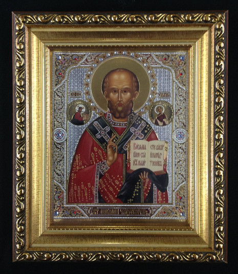 St Nicholas Framed Icon with Crystals & Glass