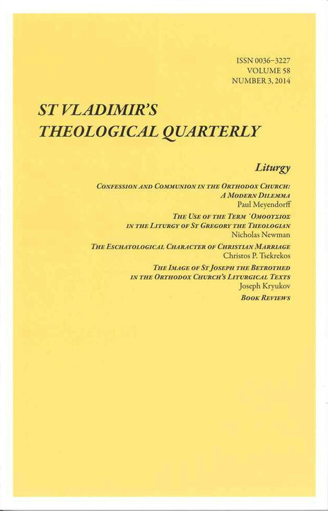 St. Vladimir's Theological Quarterly, Vol. 58, no. 3 (2014)