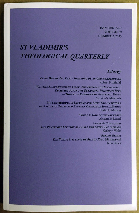 St. Vladimir's Theological Quarterly, Vol. 59, no. 2 (2015)