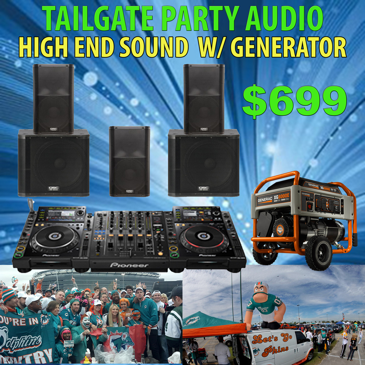 RENTAL: TAILGATE PARTY - HIGH END AUDIO W/ GENERAC ***FREE LOCAL DELIVERY  ***