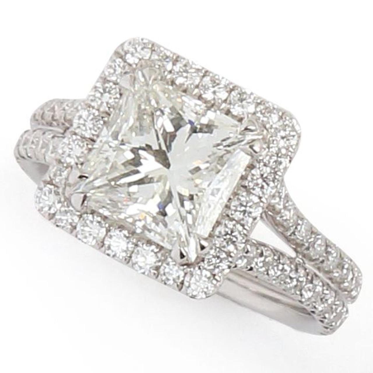 2 24ct Princess Cut Halo Diamond Ring Gale Diamonds Chicago
