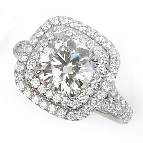 1.72ct Round Double Halo Diamond Ring