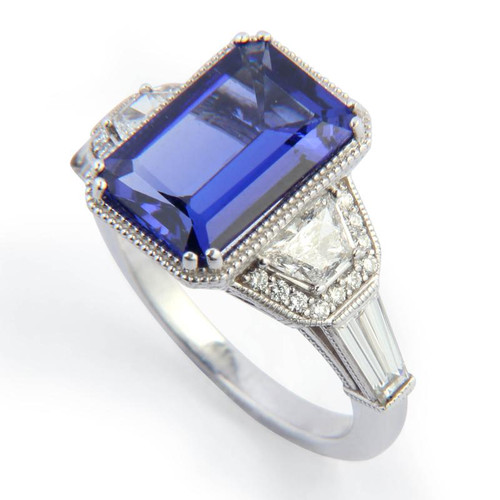 4.11ct Tanzanite Three Stone Ring