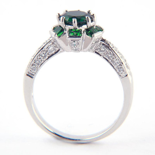 1.13ct Green Tsavorite Flower Design Ring