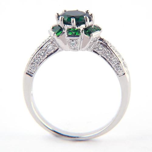 1.13ct Green Tsavorite Flower Design Ring