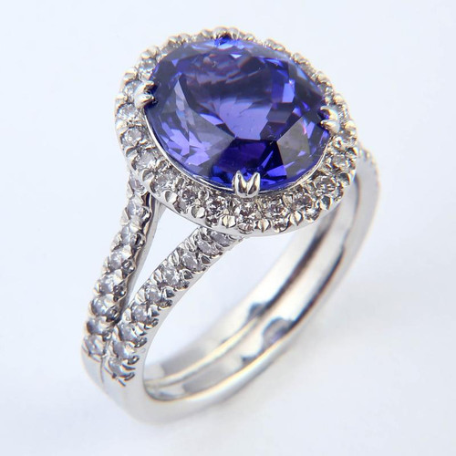 4.94ct Tanzanite & Diamond Halo Split Shank Ring