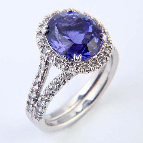 4.94ct Tanzanite & Diamond Halo Split Shank Ring