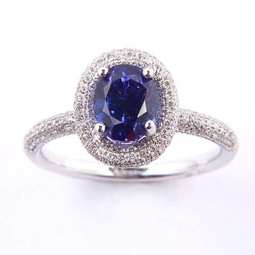 1.85ct Tanzanite & Diamond Halo Ring